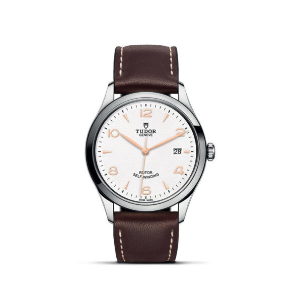 TUDOR 1926 Watch with 39 mm steel case, White dial. In upright position, white background.