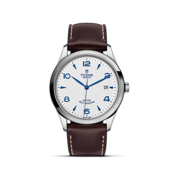 TUDOR 1926 Watch with 41 mm steel case, Opaline and blue dial. In upright position, white background.
