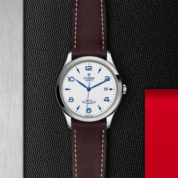 TUDOR 1926 Watch with 41 mm steel case, Opaline and blue dial. In store flat lay.
