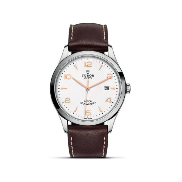 TUDOR 1926 Watch with 41 mm steel case, White dial. In upright position, white background.